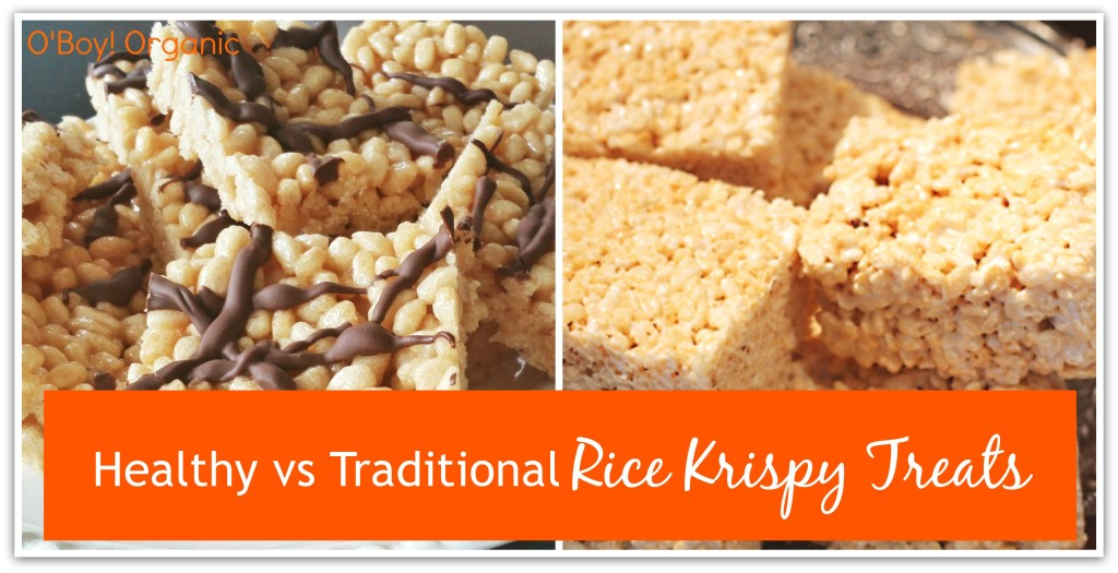 Healthy vs Traditional rice krispy treats logo